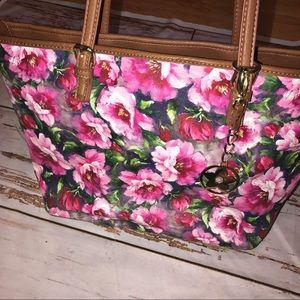Pink floral printed purse